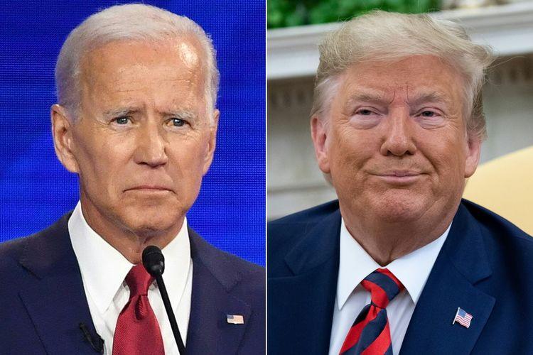 Kombinasi foto mantan Wakil Presiden Amerika Serikat Joe Biden (kiri), dan Presiden Donald Trump. Saat ini, Trump menghadapi pemakzulan karena meminta Ukraina untuk menyelidiki kasus yang menjerat putra Biden, Hunter. Biden adalah calon penantang terkuatnya dalam Pilpres AS 2020.