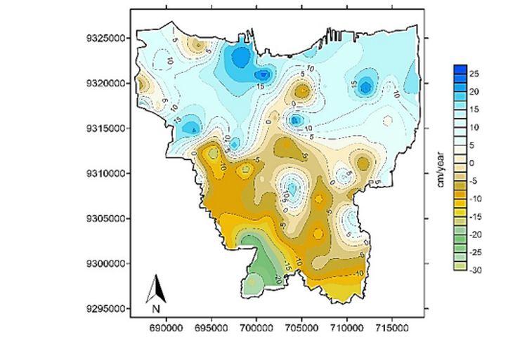 Laju penurunan tanah Jakarta per tahun antara 2014 dan 2018 setelah peta anomali 4D dibagi 0,3085 mGal/m