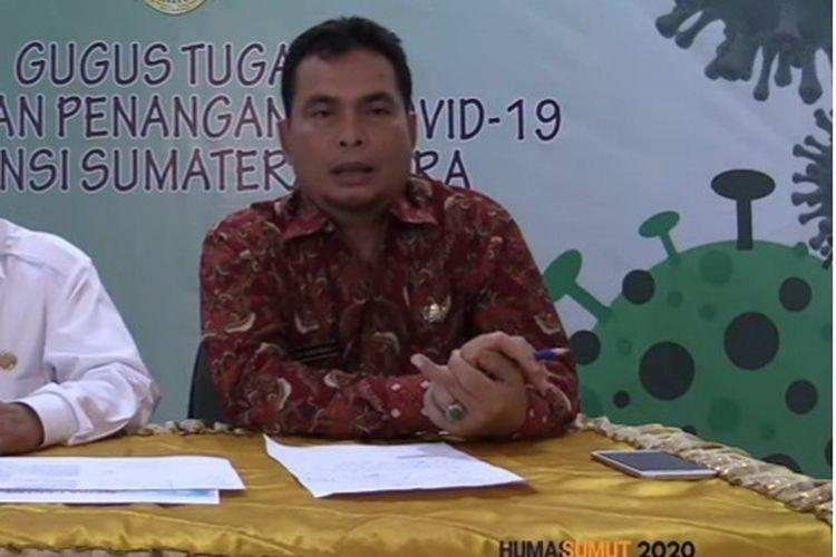 Kepala Dinas Kesehatan Sumatera Utara Alwi Mujahit Hasibuan saat konferensi pers live di YouTube Humas Sumut, Kamis (19/3/2020).