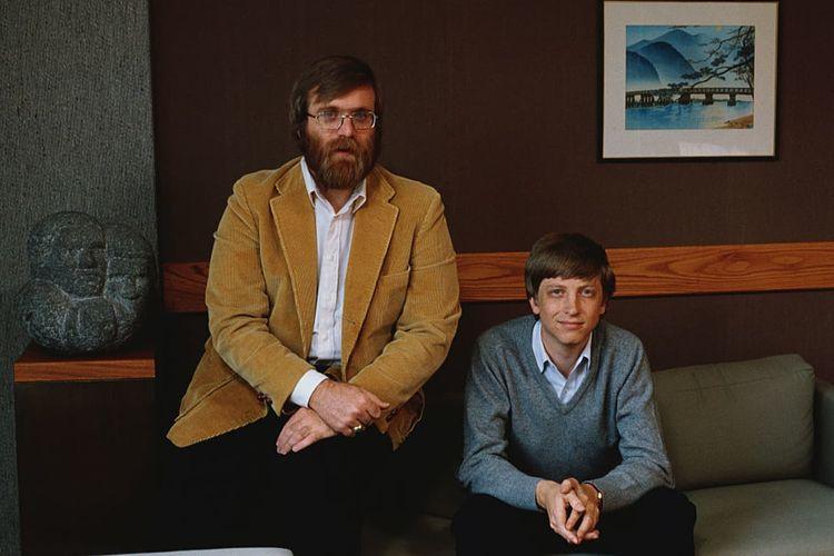 Potret dua pendiri Microsoft, Bill Gates (kanan) dan Paul Allen (kiri) pada tahun 1984.