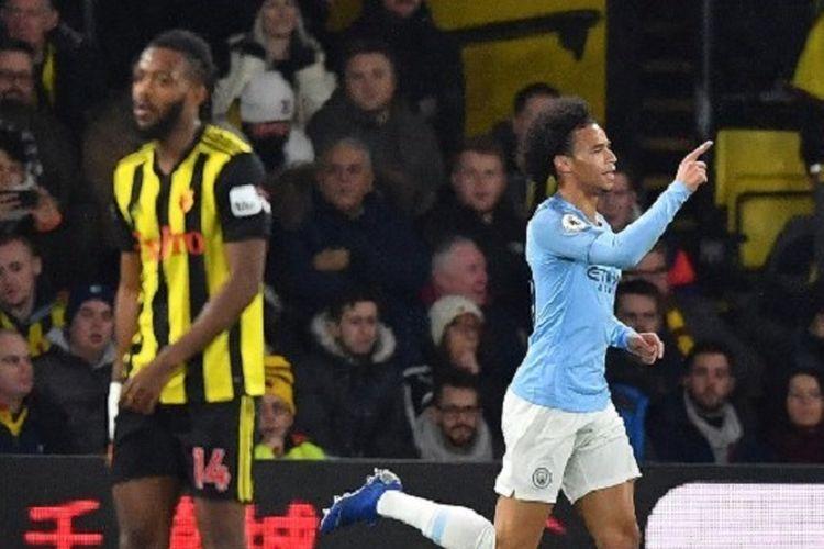Leroy Sane merayakan golnya pada laga Watford vs Manchester City di Stadion Vicarage Road, 4 Desember 2018.