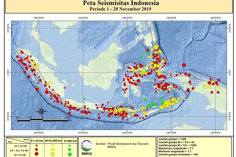Peta Seismitas Indonesia Periode 1-28 November 2019. Ada 1.306 gempa tektonik.