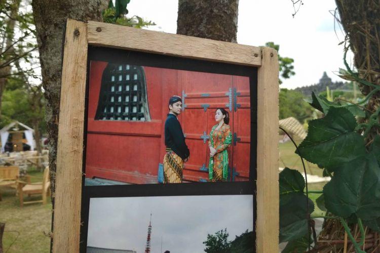 Foto-foto pre wedding penyanyi Vicky Shu dan Ade Imam, di Candi Borobudur, Magelang, Sabtu (23/9/2017).