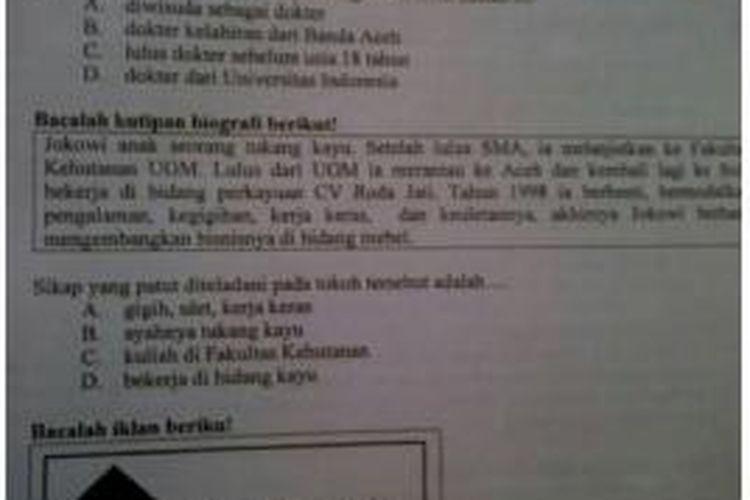 Materi soal tentang Jokowi yang ditemukan Federasi Serikat Guru Indonesia (FSGI) di dalam salah satu lembar soal Ujian Nasional SMP yang dilaksanakan Senin (5/5/2014)