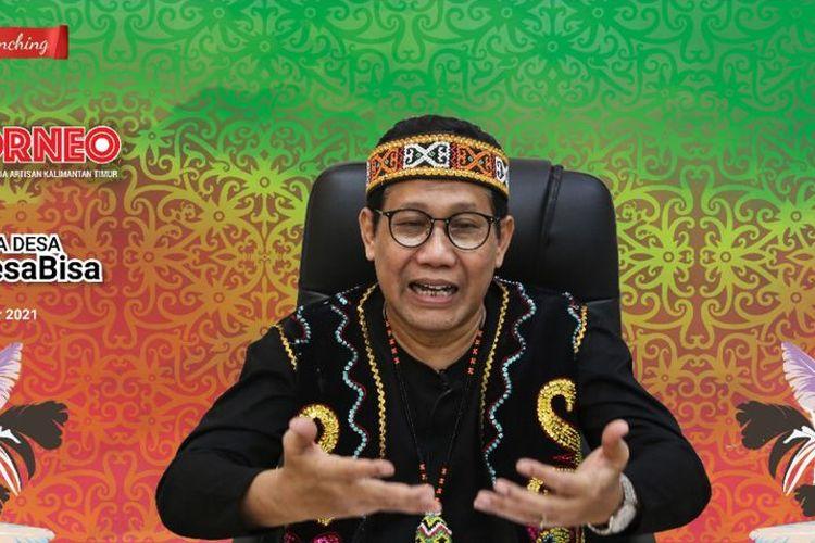 Menteri Desa, Pembangunan Daerah Tertinggal dan Transmigrasi (Mendesa PDTT) Abdul Halim Iskandar meluncurkan Gerakan Nasional Bangga Buatan Indonesia (Gernas BBI) Kalimantan Timur yang mengusung tema GO BORNEO secara virtual, Rabu (1/9/2021).