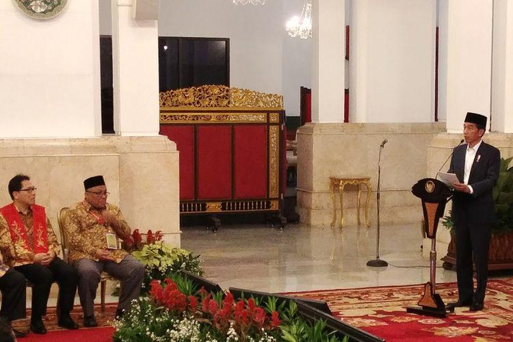Presiden Joko Widodo saat menerima Peserta Rakornas Forum Kerukunan Umat Beragama (FKUB) di Jakarta, Selasa (28/11/2017).