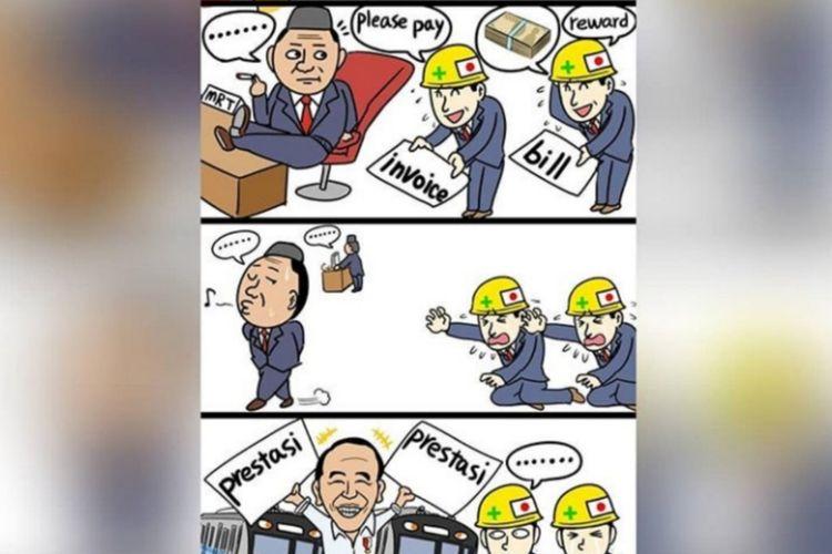 Komikus Onan Hiroshi menyindir pemerintah Indonesia terkait hutang MRT kepada Jepang