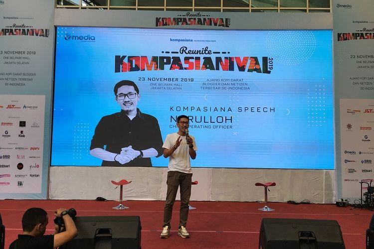 COO Kompasiana saat sambutan pembuka Kompasianival 2019 di One Belpark, Jakarta, Sabtu (23/11/2019)