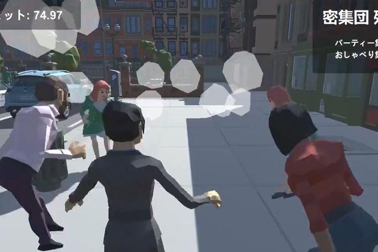 Tangkapan layar yang menampilkan Gubernur Tokyo Yuriko Koike tampil di game social distancing.