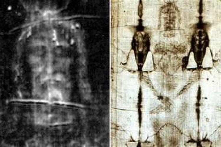 Wajah pada kain kafan Torino dipercaya sebagai wajah Yesus.