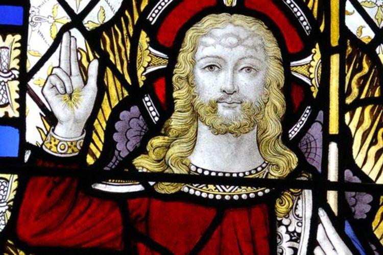 Gambar Yesus seperti terlihat pada jendela salah satu gereja di Inggris.