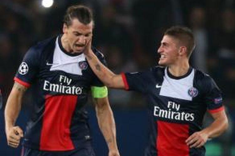 Dua pemain Paris Saint-Germain, Zlatan Ibrahimovic (kiri) dan Marco Verratti (kanan).