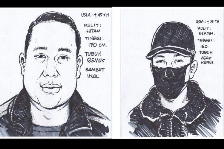 Sketsa dua wajah pelaku penembakan pengusaha di bidang pelayaran berinisial S (51) di Royal Gading Square, Pegangsaan Dua, Kelapa Gading, Jakarta Utara, Kamis (13/8/2020) siang.