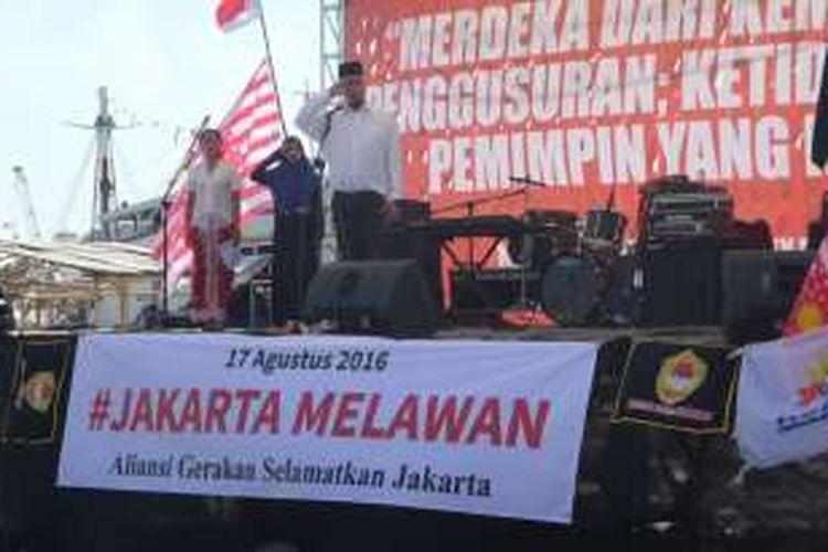 Rabu (17/8/2016), musisi Ahmad Dhani saat menjadi pembina upacara di Pasar Ikan, Penjaringan, Jakarta Utara