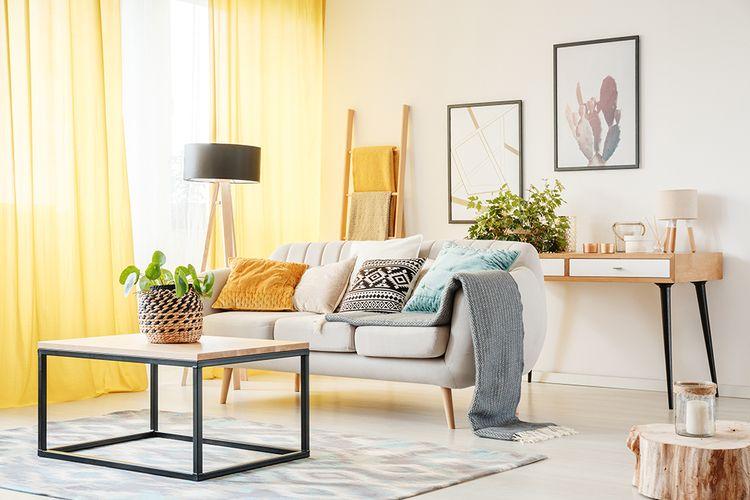 Ilustrasi karpet di interior apartemen.