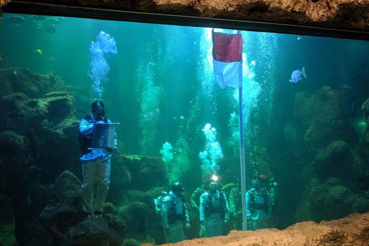 Gladi Resik Upacara Bawah Air di Seaworld Ancol, Senin (11/8/2019)