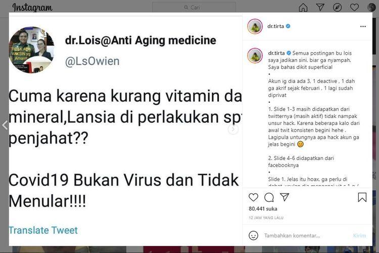Dokter Lois Owen membuat heboh dunia maya karena menyebarkan informasi bahwa Covid-19 bukanlah disebabkan virus. Sang dokter pun menyebut banyaknya pasien meninggal di rumah sakit bukan karena Covdi-19, melainkan interaksi obat-obatan yang berlebihan.