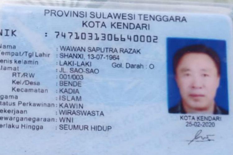 KTP yang diduga palsu milik Mr Wang alias Wawan Saputra Razak