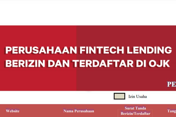 Tangkapan layar daftar platform fintech lending berizin dan terdaftar di OJK.