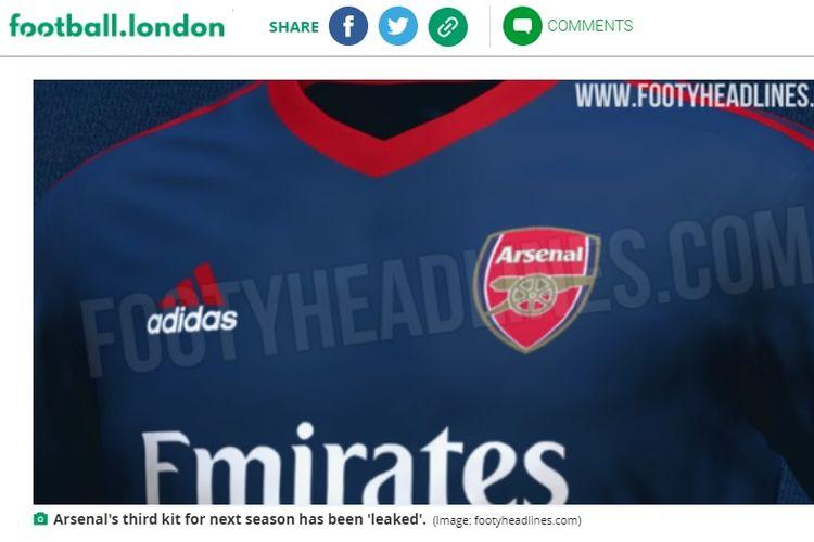 Bocoran jersey ketiga Arsenal musim 2021-2022