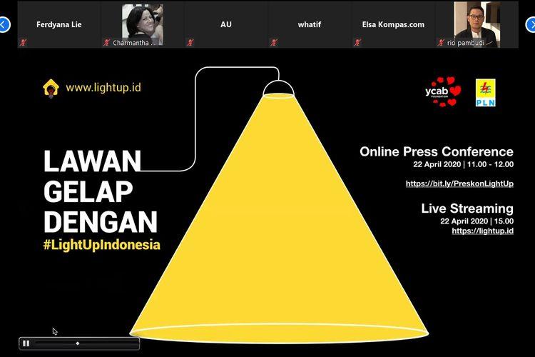 Konferensi pers daring YCAB Foundation #LightUpIndonesia, Rabu (22/4/2020), ajak masyarakat donasi biaya listik untuk keluarga prasejahtera.
