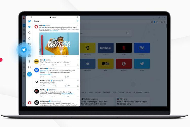Peramban Opera dengan aplikasi Twitter yang terintegrasi di side bar.