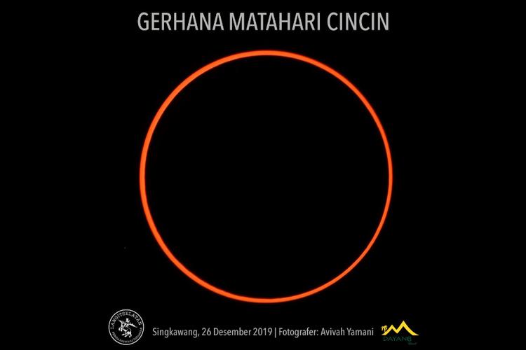 Gerhana matahari cincin yang tampak di Singkawang, Kamis (26/12/2019).