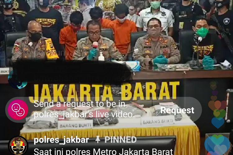 Rilis kasus perampokan mini market Indomaret di Polres Metro Jakarta Barat, Jumat (5/6/2020)