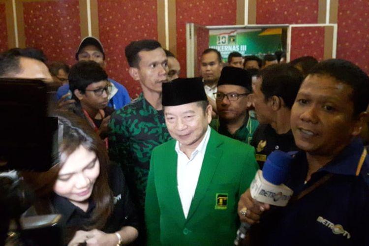 SuharsoMonoarfa setelah dikukuhkan sebagai Plt Ketum di Musyawarah Kerja Nasional(Mukernas) III Partai Persatuan Pembangunan (PPP), Hotel Seruni, Puncak, Kabupaten Bogor, Rabu (20/3/2019) malam.