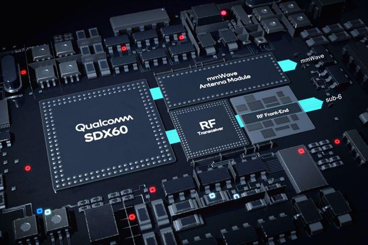 Chip modem Snapdragon X60 5G dengan modul RF dan antenna mmWave .