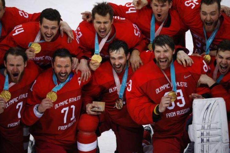 Tim hoki es Rusia meraih medali emas Olimpiade musim dingin 2018