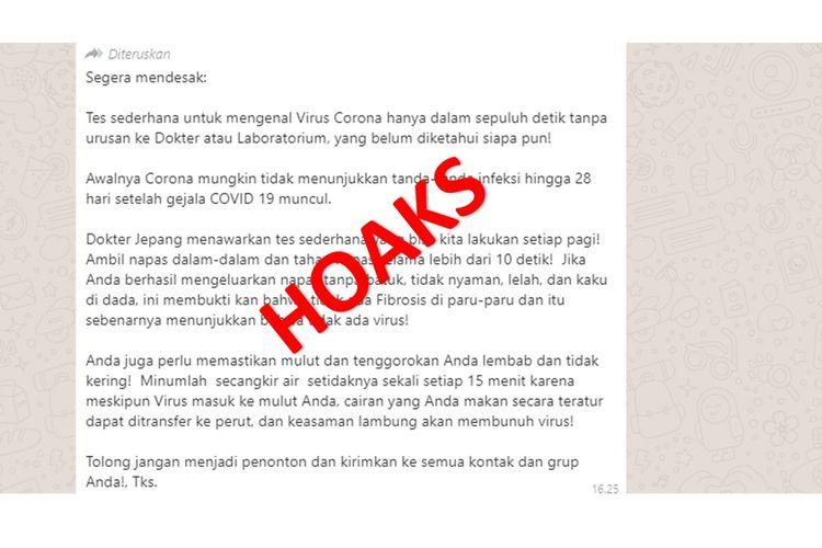 Tangkapan layar pesan WhatsApp berisi deteksi diri virus corona hanya dalam sepuluh detik