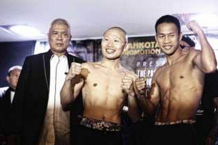 Yoshitaka Kato dan Daud Yordan bertanding di Balai Sarbini, Jumat (5/2/2016).