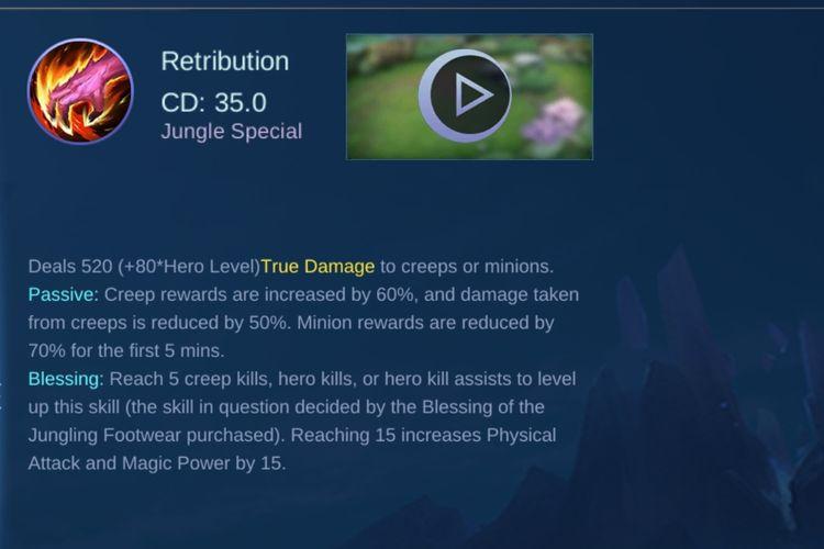 Ilustrasi battle spell Retribution di Mobile Legends.