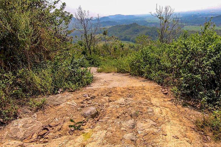 Jalan Tembus Selogiri-Manyaran. Jalan cor habis dan berganti jalan tanah.