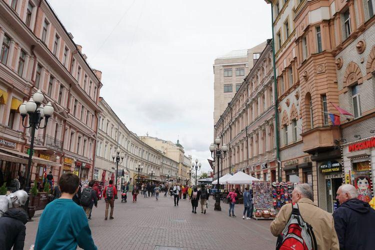 Kawasan Kota Lama Arbat, Moskwa, Rusia.