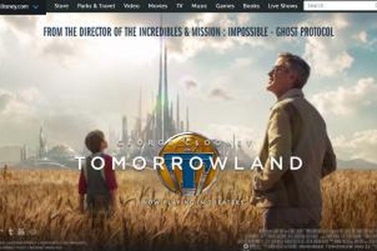 Halaman web film Tomorrowland di situs web Disney.com