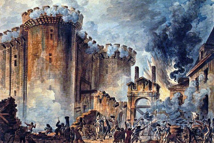 Penggambaran penyerbuan penjara Bastille menurut pelukis Bernard René Jourdan.