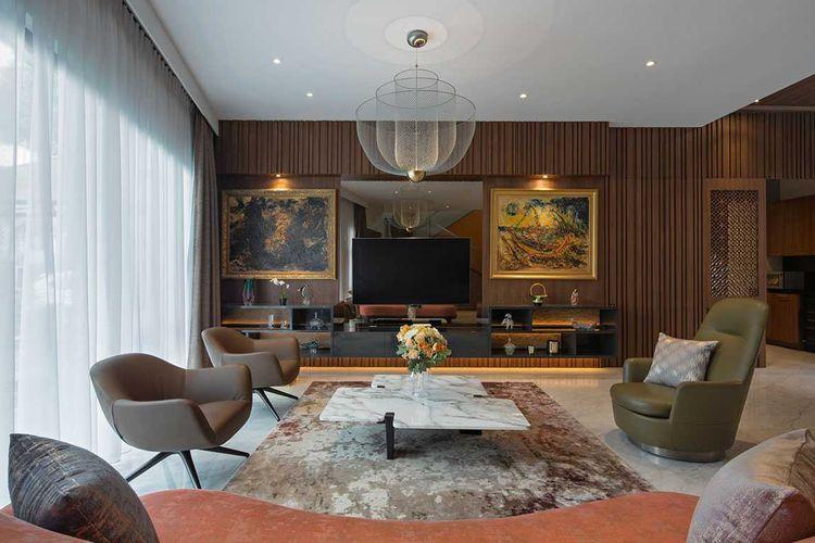 Desain ruang keluarga eklektik kontemporer karya Vindo Design