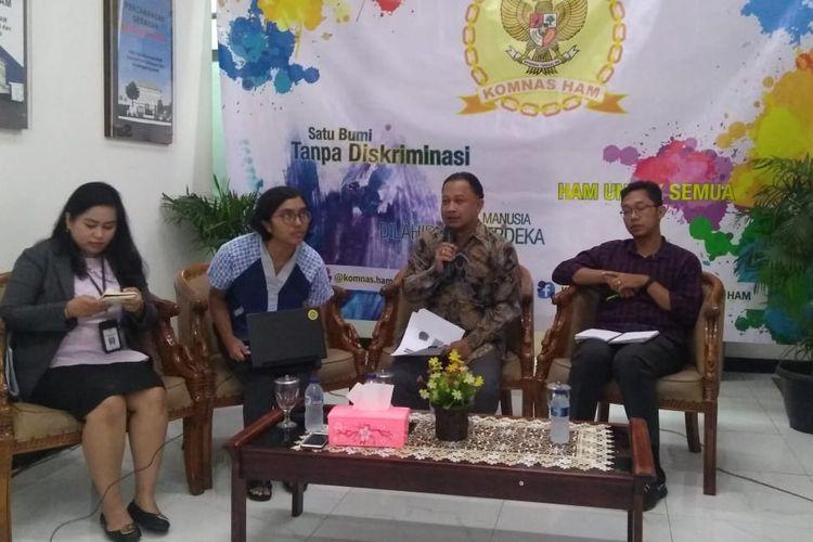 Komisioner Komnas HAM, Choirul Anam,  saat diskusi RKUHP di kantor Komnas HAM, Jakarta Pusat, Selasa (3/9/2019).