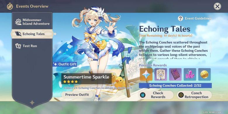 Event Echoing Tales berisi hadiah menarik seperti skin Barbara, Primogems, Mora, Hero's Wit, dan Mystic Enhancement Ore,
