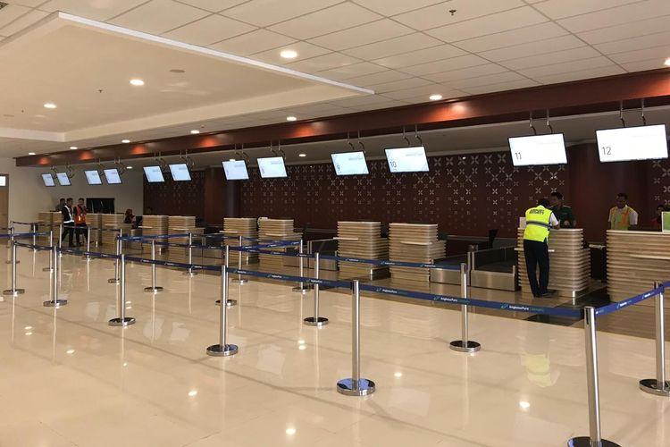 Konter check in di Yogyakarta International Airport (YIA), Selasa (7/5/2019).