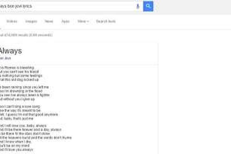 Mesin pencari Google akan menampilkan lirik lagu
