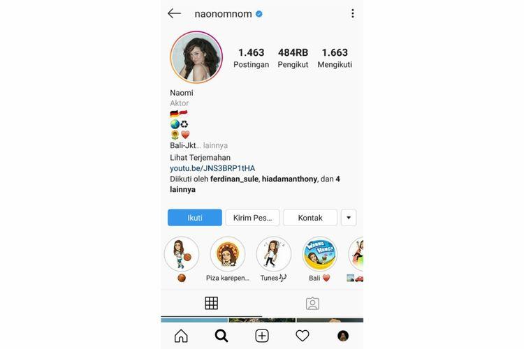 Instagram Naomi Zaskia.