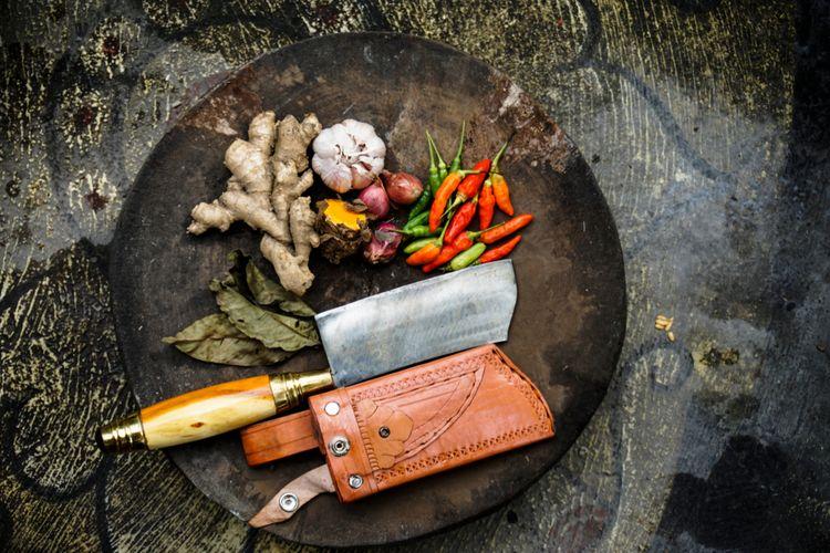 Ilustrasi rempah untuk base genep, bumbu dasar untuk kuliner khas Bali.