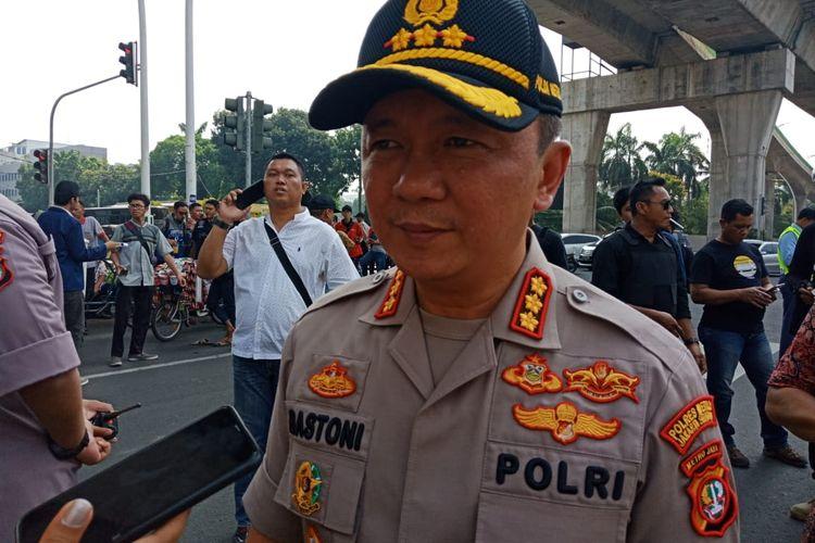 Kapolres Metro Jakarta Selatan, Komisaris Besar Bastoni Purnama di lokasi demo di depan Mabes Polri, Jakarta Selatan, Jumat (13/12/2019).