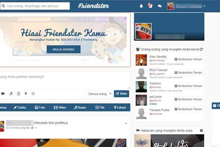 Antarmuka Friendster yang baru.