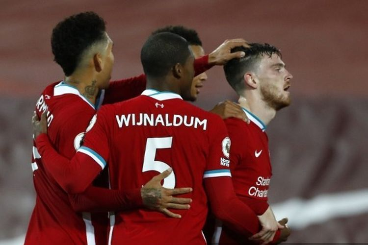 Andrew Robertson dan rekan setimnya dalam laga Liverpool vs Arsenal, Selasa (29/9/2020) dini hari WIB, pada lanjutan Liga INggris.