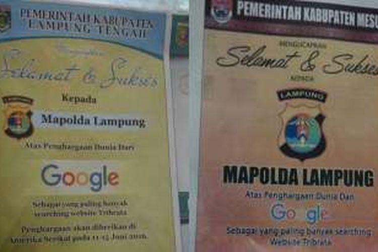 Foto ucapan selamat kepada Polda Lampung yang beredar di media sosial.