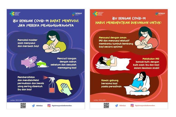 Sejumlah panduan Kemenkes untuk ibu menyusui yang positif Covid-19. Menyusui tetap aman.